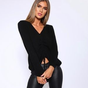 JUST FAB Front Ruched Sweater